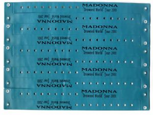 DROWNED WORLD TOUR - SHEET of 10 VIP WRISTBANDS (AQUA BLUE)